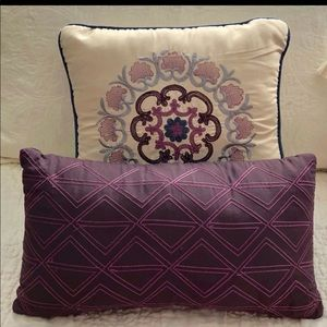 Other - 2 Beautiful Throw Pillows - Purple & Cream